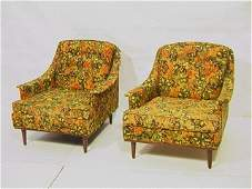 195 Pr SELIG of MONROE Floral Upholstered Lounge Chai