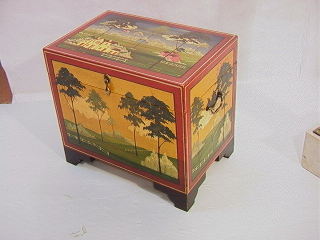 353: Don Andres Painted Decorated Wood Box. Artist sig