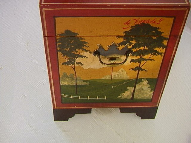 353: Don Andres Painted Decorated Wood Box. Artist sig - 3