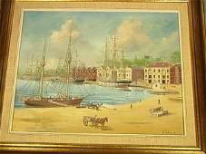 372: Ian Hansen '76 Oil on Board. Harbor Scene. Titled