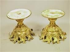 393 Pr Gilt Brass Bronze Pedestal Bases Scroll  Fo