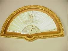 422: Antique Handpainted Mother of Pearl Folding Fan.