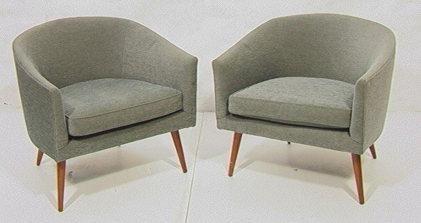 2: Pair Of Barrel Back Lounge Chairs.  Possibly Thay