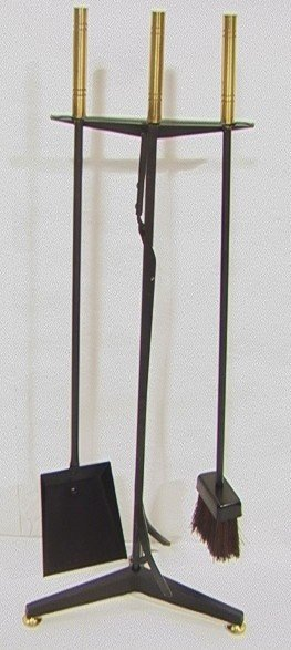3: Pair Modernist Brass and Iron Fireplace Tools.
