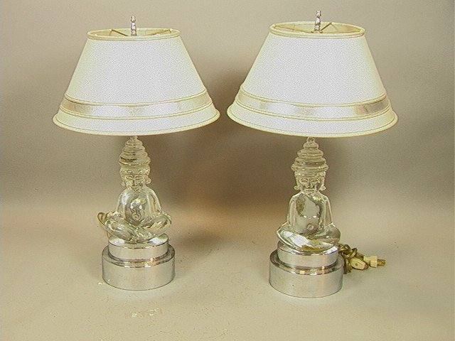 4: Pair 70's Modern Crystal and Chrome Buddha Lamps.