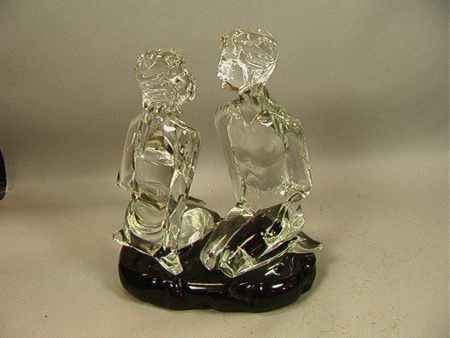 5: Loredano Rosin Glass Sculpture of Two Seated Figu