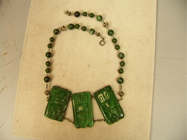 15: Mexico Silver Necklace with Carved Green Stones.