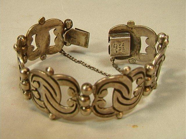 18: Heavy Sterling Mexico Bracelet. Vintage.