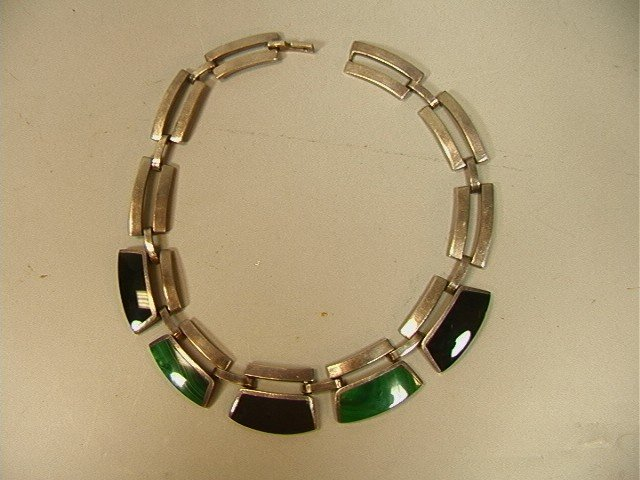 19: Heavy Mexico Sterling Necklace with Onyx and Mala