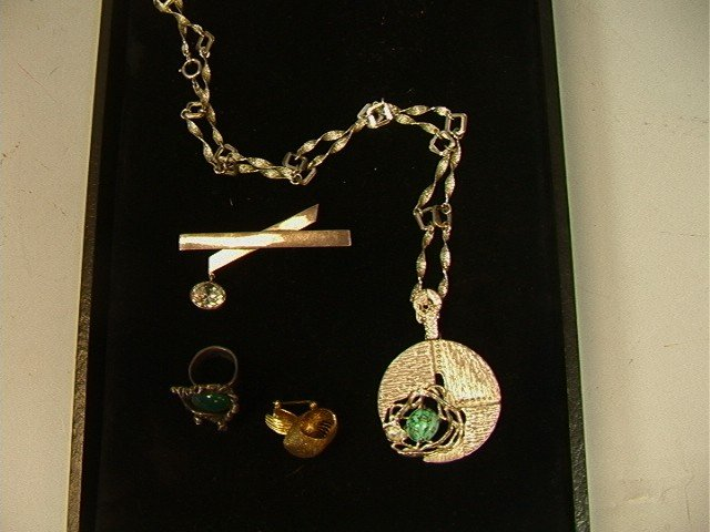 22: 4pc Lot Modernist Sterling Jewelry .Biomorphic ri