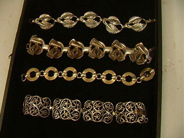 23: 4pc Lot Vintage sterling Bracelets.  Napier, Jewe