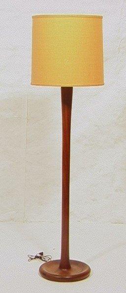 57: Danish Modern Teak Floor Lamp. Circular base with
