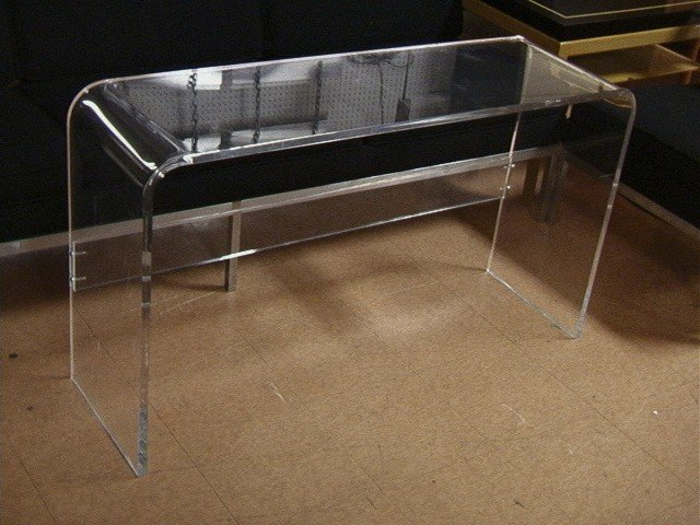 "Acrylic Hall Sofa Table Rounded edges 3 4"" thic"
