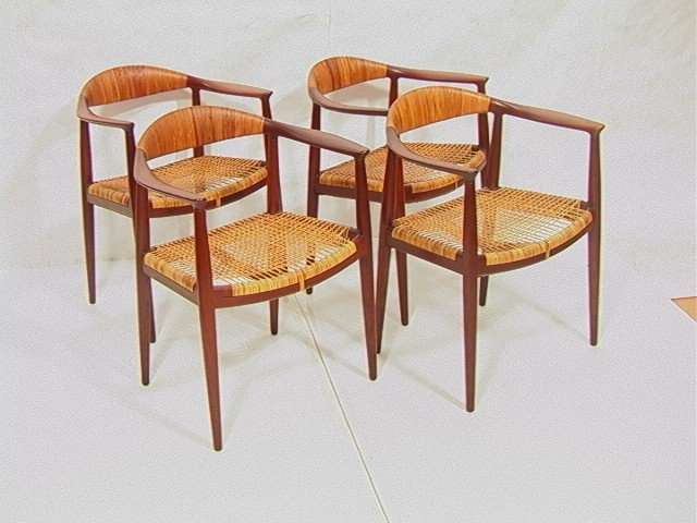 99: Set 4 Early HANS WEGNER Arm Chairs.Woven Seat and