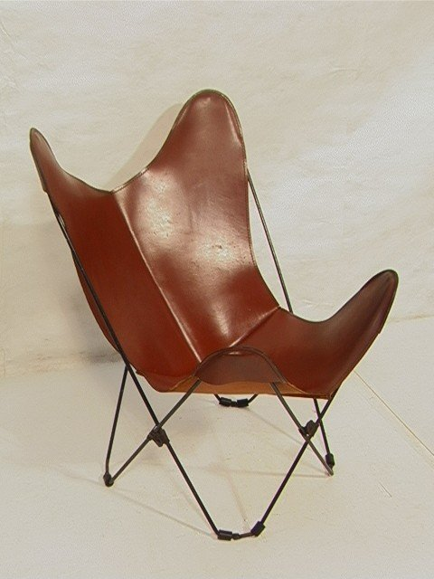 Vintage Leather Iron Butterfly Chair Folding Iro