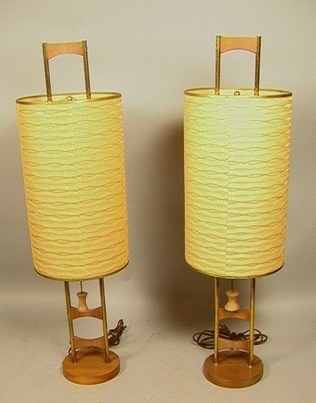 222: Pr Walnut and Brass Laurel Table Lamps.