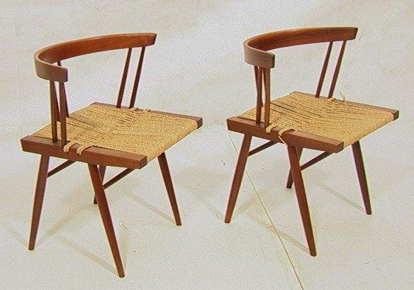 317: Pr GEORGE NAKASHIMA Chairs. American Studio Walnu