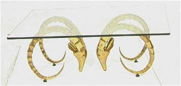 335: Designer Double Brass Antelope Base Cocktail Tabl