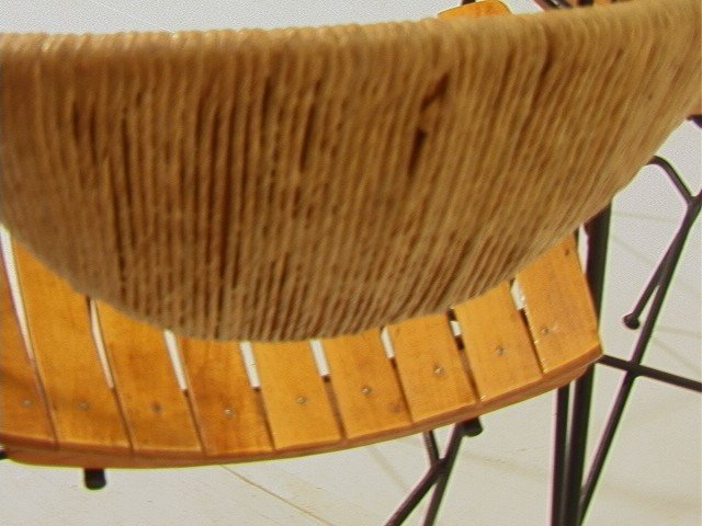 394 Set 3 Arthur Umanoff Bar Stools Wood Slat Seats
