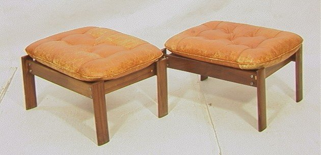 542: Pair Lafer Rosewood Ottoman Benches.  Leather top