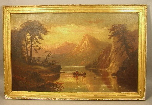 1: R THORN oil painting on Canvas. Indians on mount