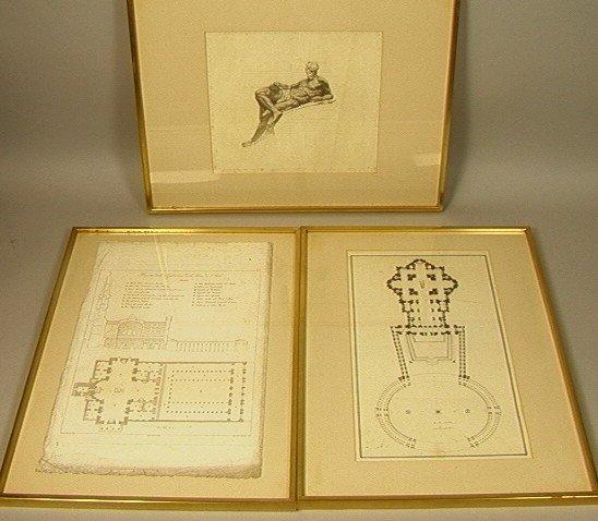 2: 3 pcs Italian Architectural Engravings.  Architec