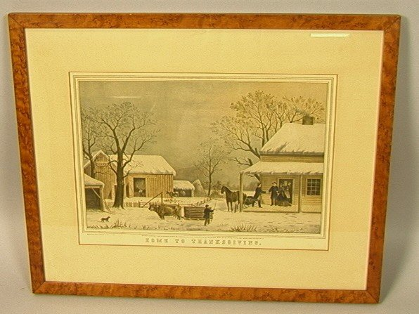 4: HOME TO THANKSGIVING Currier and Ives Reprint.