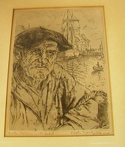 8: JOSEPH MARGULIES Engraving Fisherman with Basket.