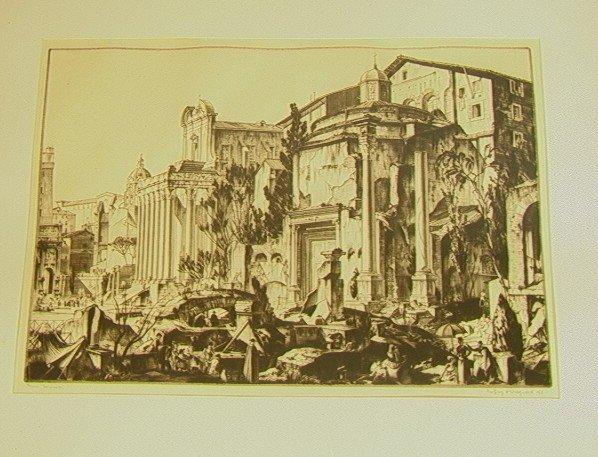9: GEOFFREY WEDGWOOD Forum Romanum Engraving Print.