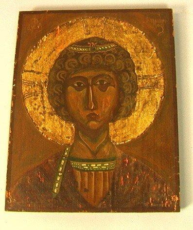 10: Gold Gilt European Icon with Christ Head.