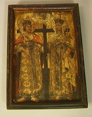 11: Religious Icon with Cross and Two Figures.