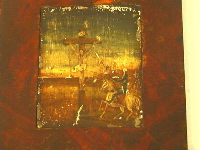13: Early Crucifixion Oil Painting.  Possibly Russian