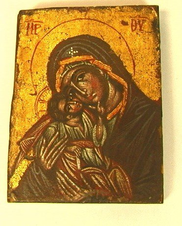 14: European Icon of Madonna and Child. Possibly Russ