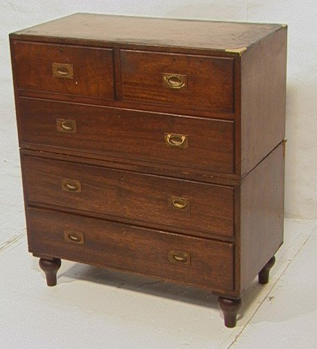 19: Antique Campaign Style Mahogany Chest on Chest.