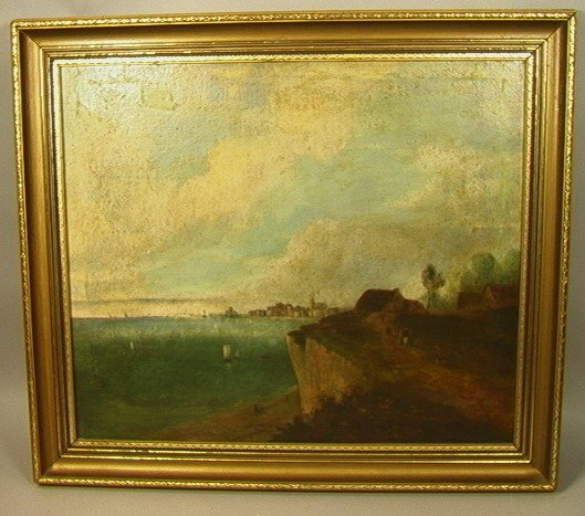 20: Oil Painting on Canvas of Sea Cliff. European