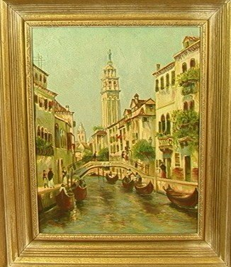 21: WELSCH Venice Oil Painting on Canvas. Signed lowe