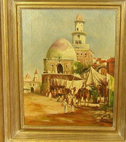 22: WELSCH Market Scene Oil Painting on Canvas. Signe