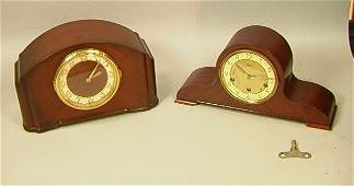 45: Two Mahogany Mantle Clocks. Seth Thomas Electric