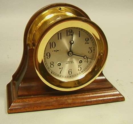 169: Chelsea Brass Ships Bell Clock in Wood Stand.  Ha