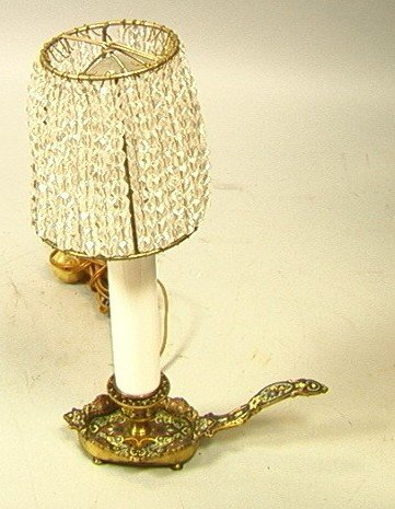 187: Champleve Enamel Brass Candle Lamp. Electric. Gla