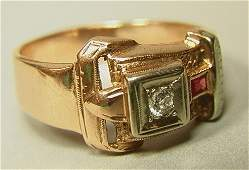 305 Art Deco 14K Gold Buckle Ring Diamond and Ruby 1