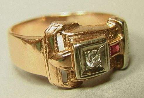 305: Art Deco 14K Gold Buckle Ring. Diamond and Ruby 1