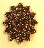 313 Antique Victorian Bohemian Garnet Brooch Pin Pend