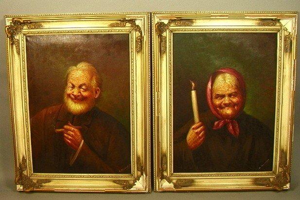 16: PR H MANCAYO Portrait Oil Paintings Of senior man