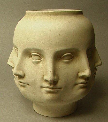 2: TMS 2005 Fornasetti Style Face Vase.  White.