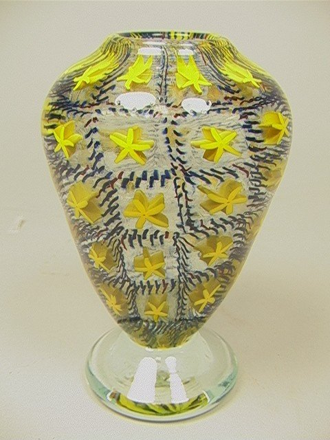 10: Art Glass Footed Vase with Caning. Signed.