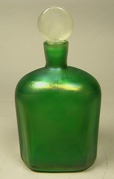 11: Murano Art Glass Stoppered Bottle.  Green with cl