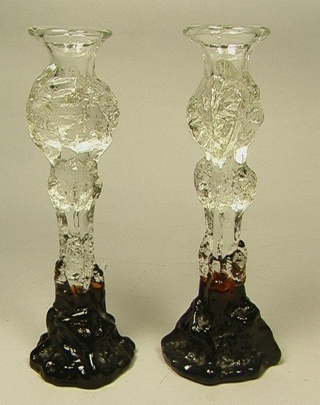 12: Pair Heavy Glass Candlesticks.  Humpplia Finland.