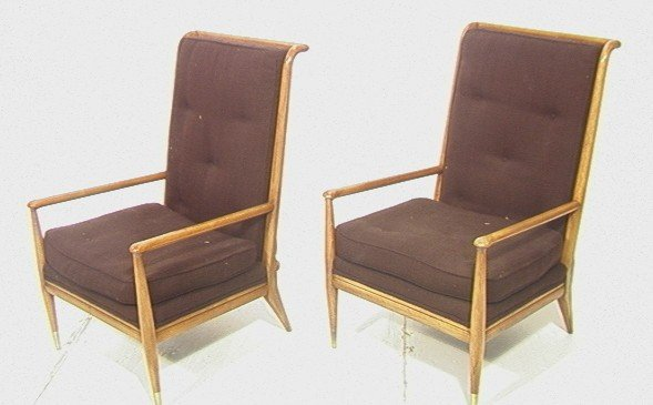 30: Great Pair John Widdicomb Lounge Chairs with Tall