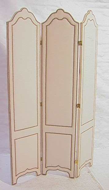 240: Studded Fabric Folding Screen Room Divider with t